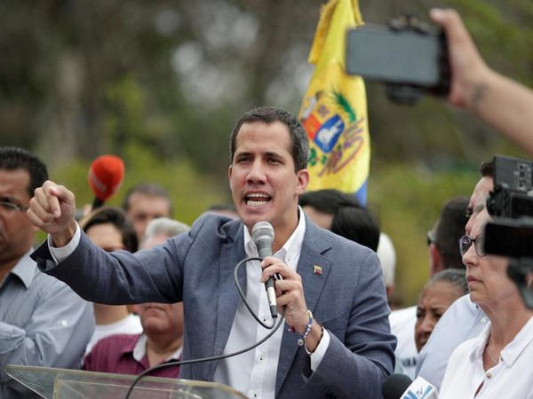 Venezuelan opposition leader Juan Guaido addressing an anti-government rally in Caracas on Saturday.