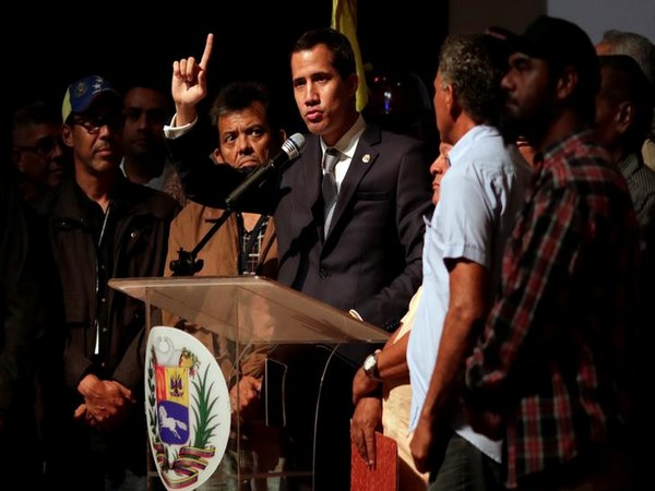 Venezuelan opposition leader Juan Guaido during a meeting of PDVSA workers in Caracas on May 3. Photo/ Reuters