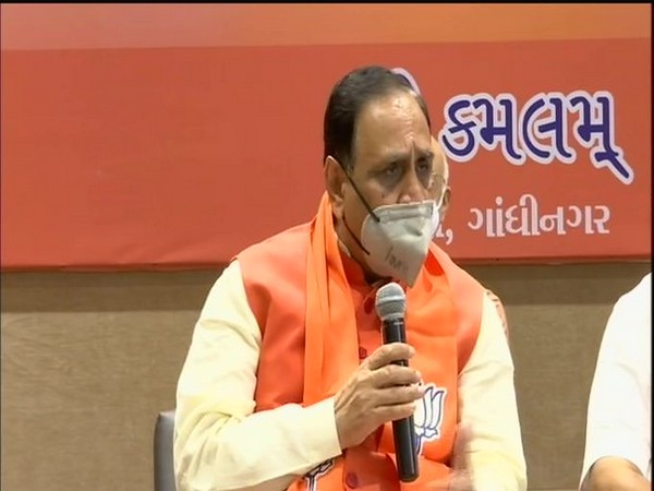 Gujarat Chief Minister Vijay Rupani speaking at the press conference on Tuesday.