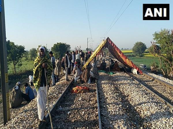 Gujjar reservation stir on Railway tracks in Sawai Madhopur on Saturday