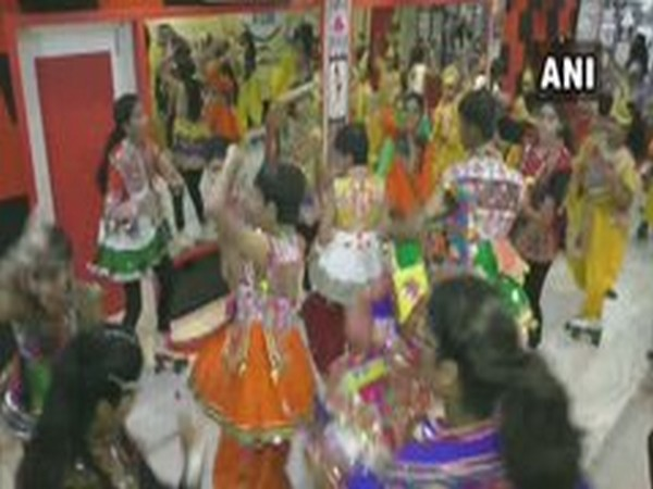 Children are practicing for Garba dance on roller stakes at an academy here. (Photo/ANI)