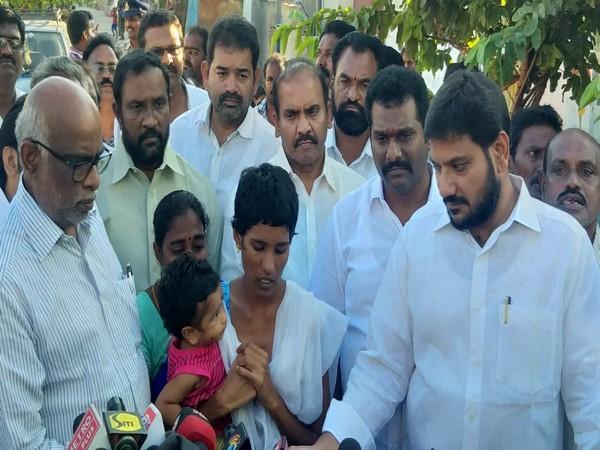 Family of late plumber P Venkatesh meeting TDP leaders on Monday. (Photo/ANI)