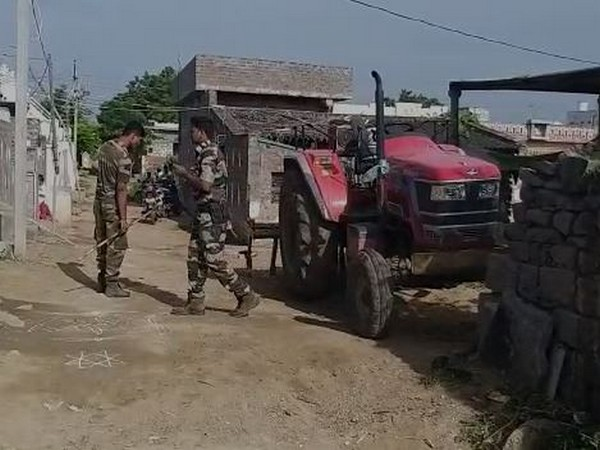 Heavy police force has been deployed in Granthasiri village following clashed between TDP and YSR Congress workers on Tuesday. Photo/ANI