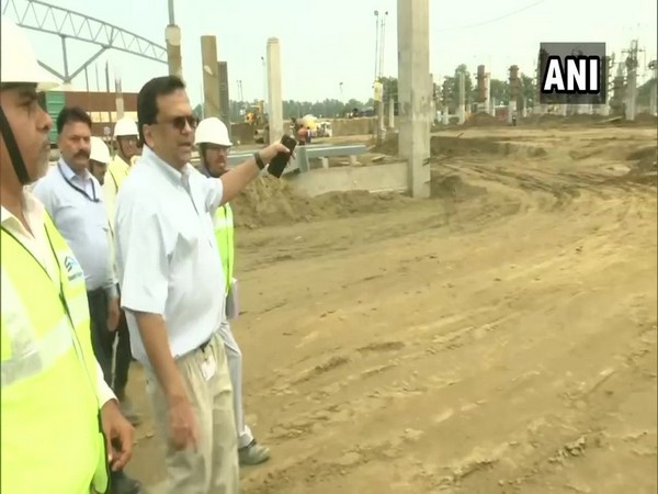 Govind Mohan, Additional Secretary, Union Home Ministry, inspecting the work for Kartarpur corridor in Gurdaspur on Monday.