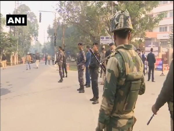 Security personnel stand guard in Guwahati, Assam on Sunday.
