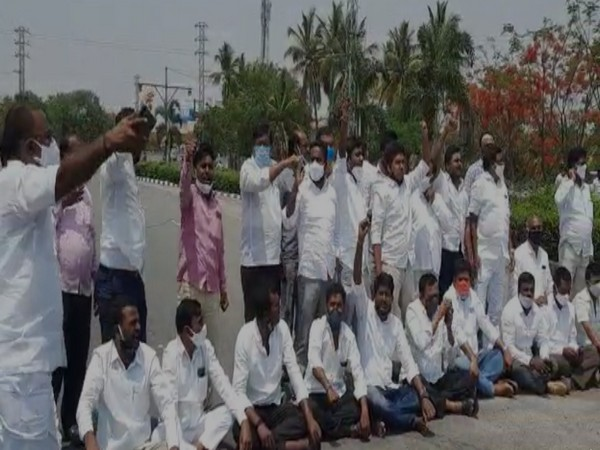 Etela Rajender's supporters block a road in Medchel area. (Photo/ANI)