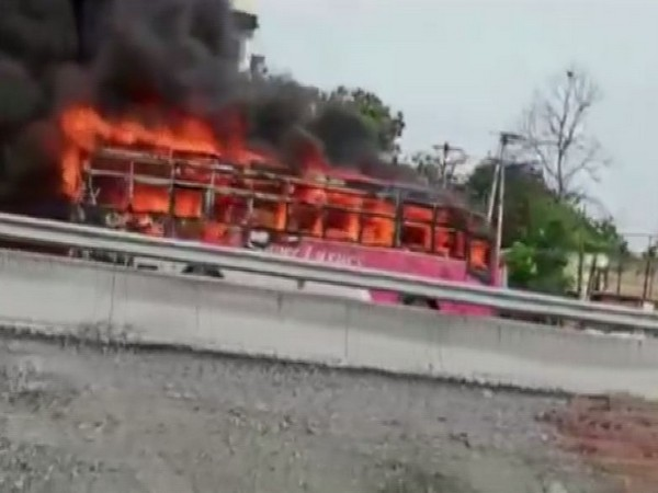 Visuals of the bus that caught fire (Photo/ANI)