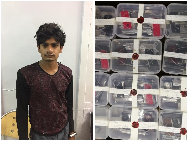 Arrested alleged arms trafficker Kehri, left, along with the recoveries made by the police, right. Photo/ANI