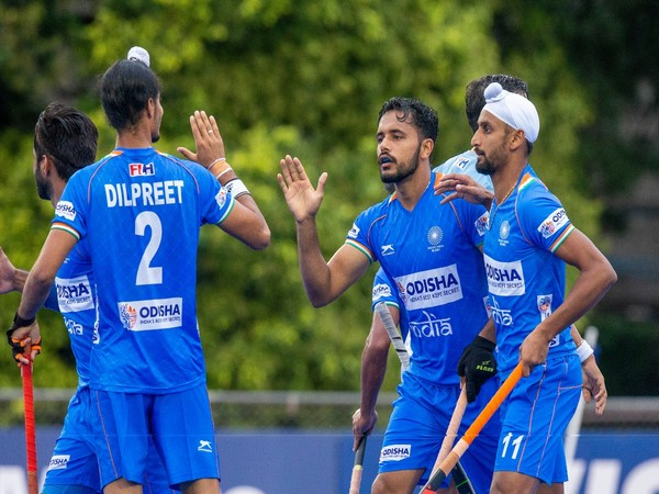 Indian players celebrating Hamanpreet Singh's goal (Photo/ Hockey India)