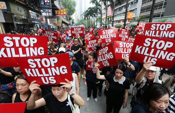 Protestors underway in Hong Kong on Sunday