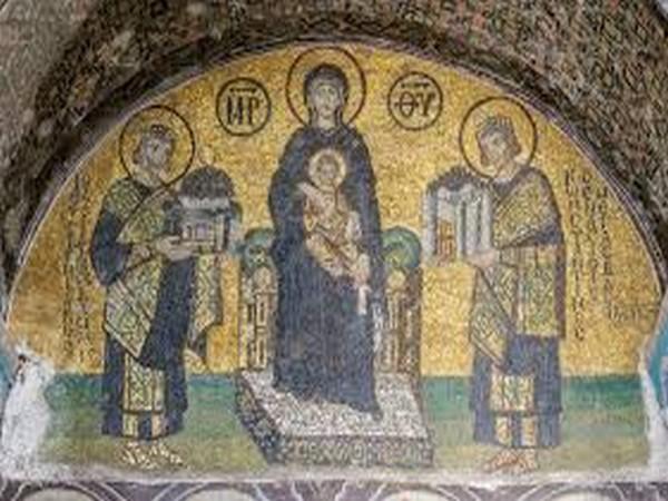 A mural inside the Hagia Sofia