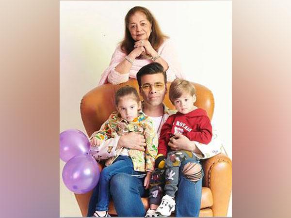 Karan Johar with kids Yash and Roohi Johar and mom Hiroo Johar (Image couresty: Instagram)