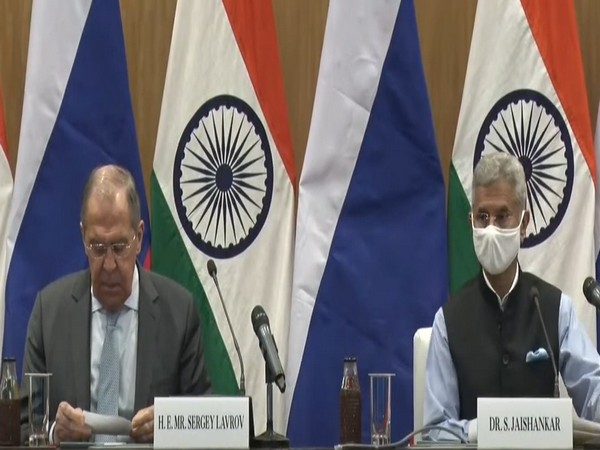 Russian Foreign Minister Sergey Lavrov and External Affairs Minister (EAM) S Jaishankar during a press conference on Tuesday.