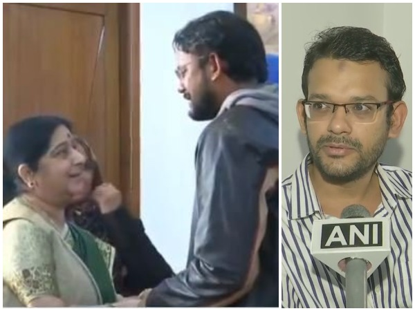 (L) Hamid Ansari and Sushma Swaraj in December 2018 ; (R) Ansari speaking to ANI on Wednesday