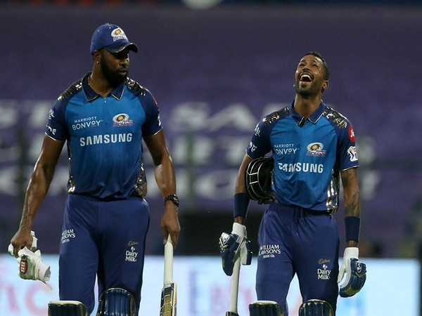 Kieron Pollard and Hardik Pandya. (Photo: BCCI/IPL)