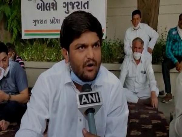 Congress leader Hardik Patel speaking with ANI on Sunday. [Photo/ANI]
