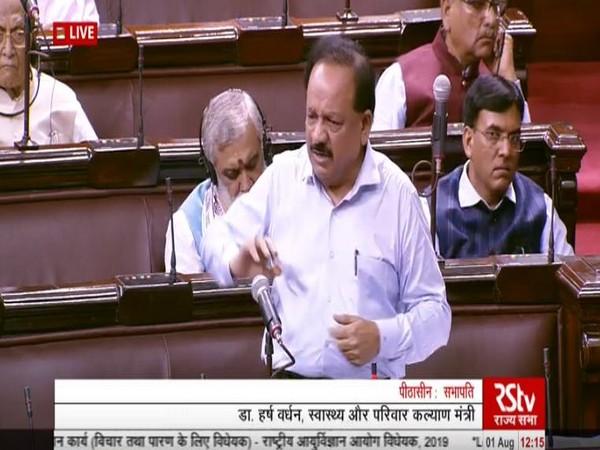 Union Health Minister Dr Harsh Vardhan in Rajya Sabha on Thursday