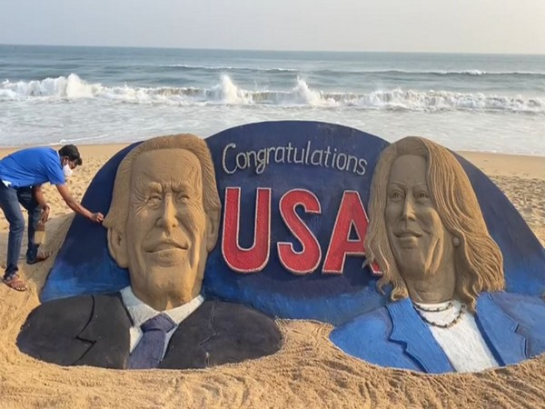 Sand artist Sudarsan Pattnaik on Sunday created 25 feet-long sculpture of US President-elect Joe Biden and Vice President-elect Kamala Harris in Puri.