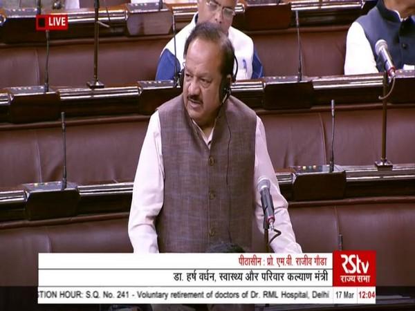 Union Minister Harsh Vardhan speaks in Rajya Sabha on Tuesday [Photo/ANI]