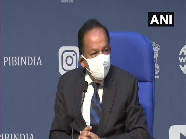 Union Health Minister Dr Harsh Vardhan addressing the curtain-raiser press conference on India International Science Festival on Monday. [Photo/ANI]