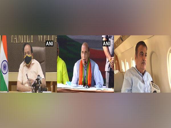 Union Ministers Harsh Vardhan, Rajnath Singh, Nitin Gadkari condoled the deaths of 13 patients in Palghar hospital fire on Friday. [Photo/ANI]