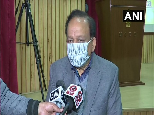 Union Health Minister Dr Harsh Vardhan talking to media in New Delhi on Friday. (Photo/ANI)