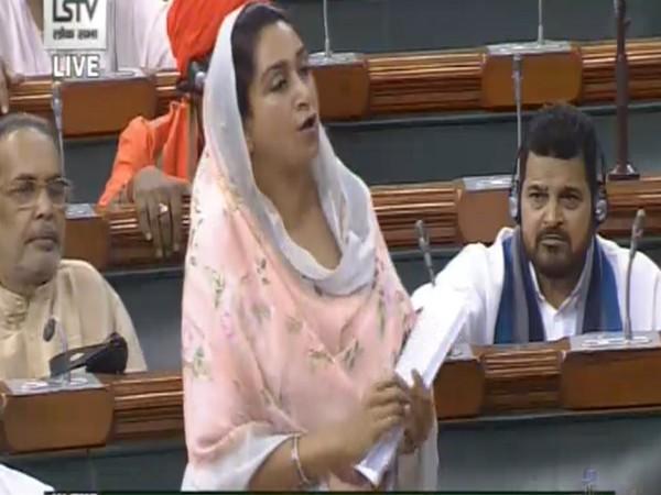 Food Processing Minister Harsimrat Kaur Badal speaking on the Bill in Lok Sabha on Friday. (Photo/LSTV)
