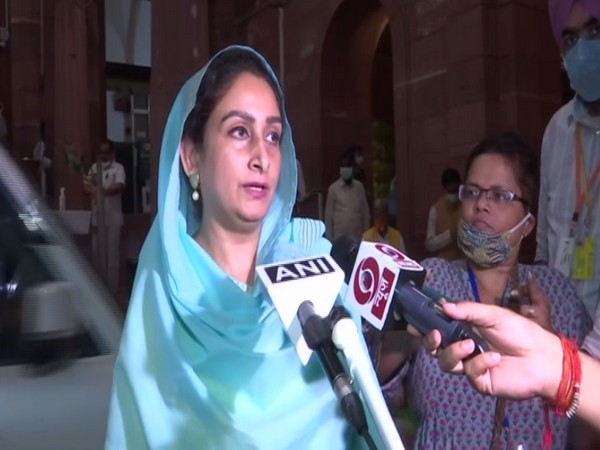 SAD MP Harsimrat Kaur Badal speaking to reporters in New Delhi on Thursday. (ANI)