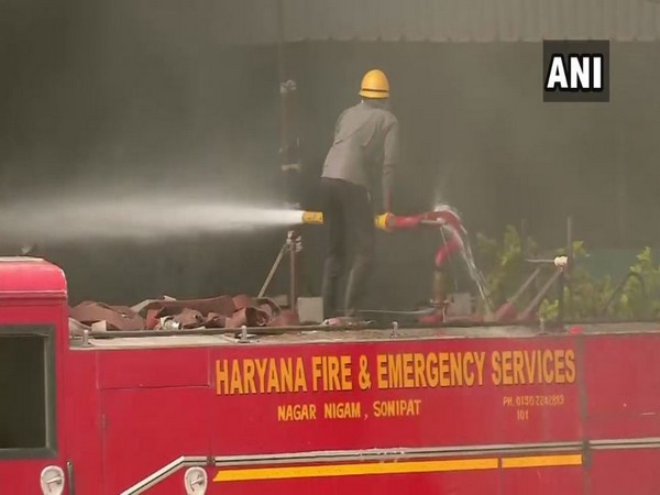 Fire fighting operations underway at a foam factory in Kundli