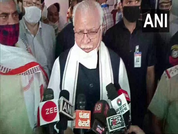 Haryana Chief Minister Manohar Lal Khattar speaking to reporters in Rohtak on Friday.