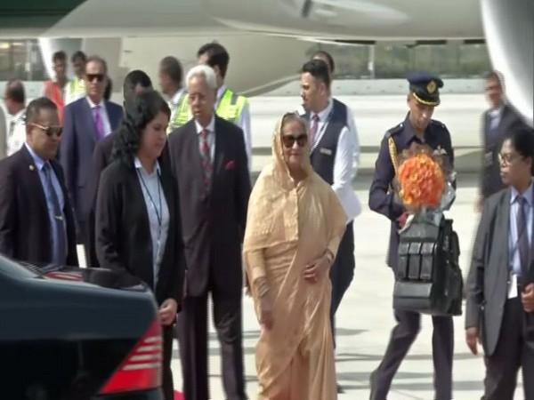 BangladeshPrime MinisterSheikh Hasinaarrives at the  Palam Air Force Station, New Delhi. Photo/ANI