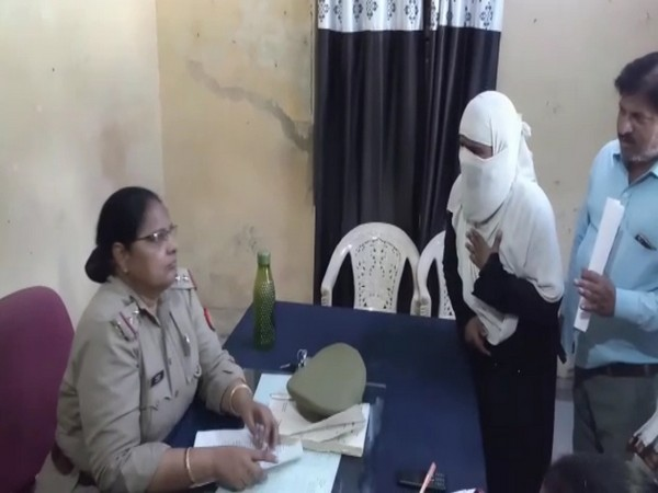 The woman who was given triple talaq over WhatsApp at the police station. Photo/ANI