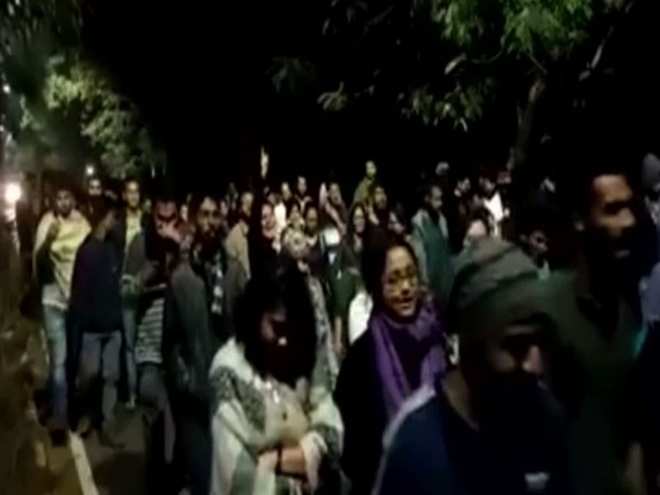 Students of Hyderabad Central university took out march in solidarity with JNU