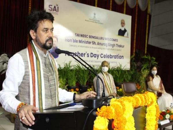 Union Sports Minister Anurag Singh Thakur participates in Teachers' Day Celebration at SAI, Regional Centre, Bengaluru (Photo/ANI)