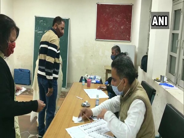 oting underway for municipal corporation elections in Dharamshala. (Photo/ANI)