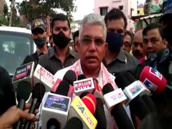 West Bengal BJP president Dilip Ghosh interacting with the media on Saturday.