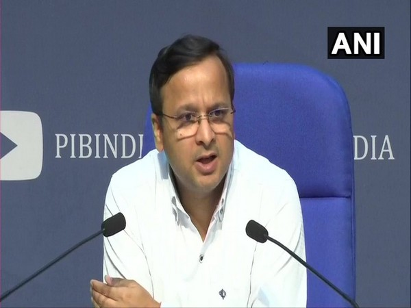 Joint Secretary, Health Ministry, Lav Aggarwal speaking at a press conference in New Delhi on Sunday.