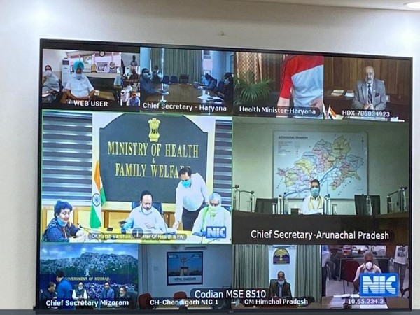 Union Health Minister Dr. Harsh Vardhan and MoS (Health and Family Welfare) Ashwini Choubey holding meeting with state health ministers via video conferencing on Friday. Photo/ANI