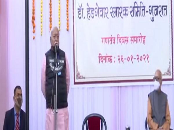 Rashtriya Swayamsevak Sangh (RSS) chief Mohan Bhagwat celebrates Republic Day in Gujarat
