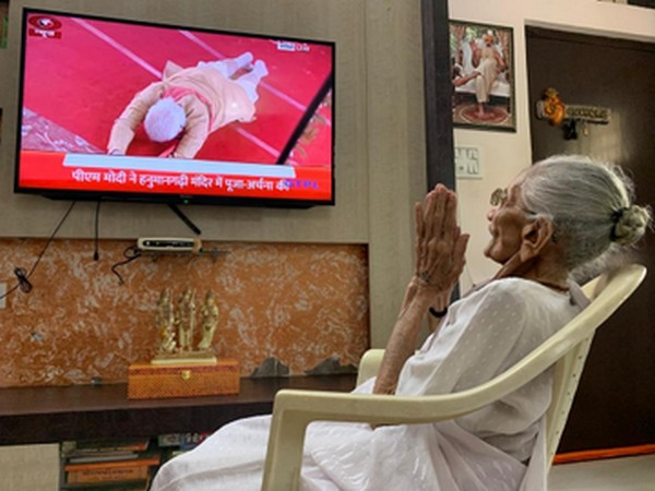 Heeraben, the mother of Prime Minister Narendra Modi, watched the live telecast of 'Bhoomi Pujan' of RamTemple at her residence in Gandhinagar on Wednesday.