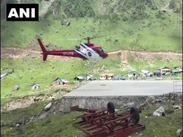 A helicopter operating in the Kedarnath area. [Photo/ANI]