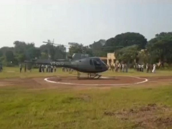 The helicopter on the school ground. (Photo/ANI)