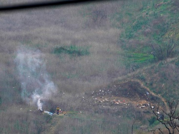A view of the site where the helicopter crashed in California on Sunday