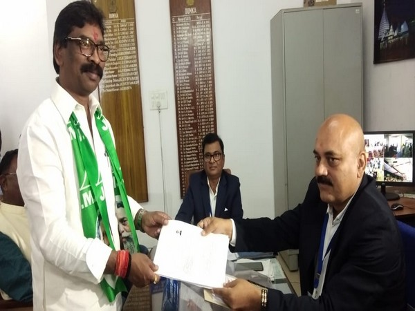 JMM working president Hemant Soren submitting his nomination papers in Dumka on Friday. Photo/ANI