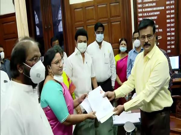 Kanimozhi NVN Somu is one of the two candidates for Rajya Sabha by-polls from Tamil Nadu. (Photo/ANI)