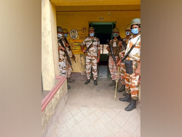 ITBP troops stationed in Jamalpur, Purba Bardhaman ahead of phase 5 polls. (Photo/ANI)