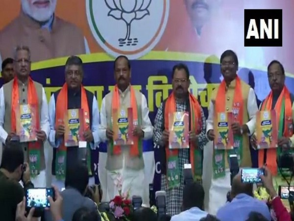 BJP leaders releasing manifesto for Jharkhand Assembly polls on Wednesday in Ranchi. Photo/ANI