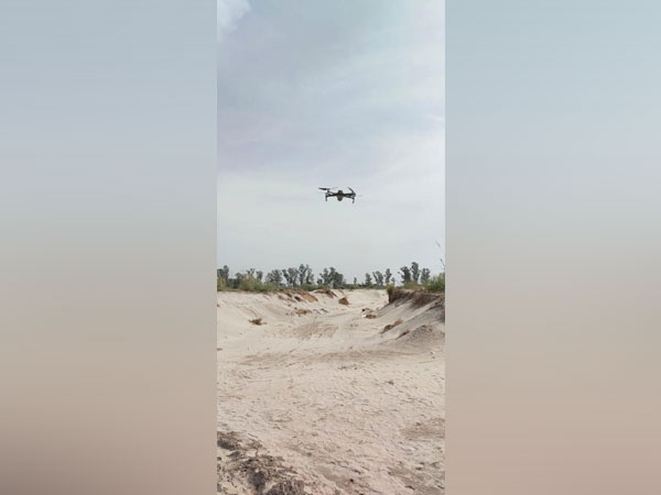 A drone is being used to check the extent of illegal mining