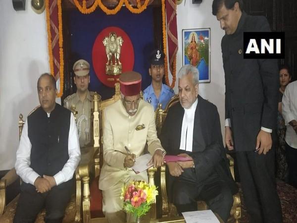 Bandaru Dattatreya taking oath as the governor of Himachal Pradesh on Wednesday. Photo/ANI