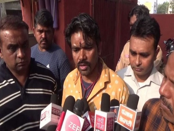 Father of girl whose face was allegedly blackened speaking to reporters in Hisar on Monday. Photo/ANI